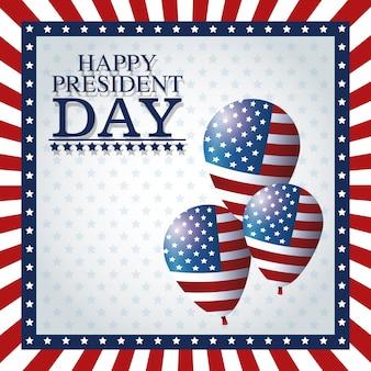 Drapeau de cadre heureux ballons de jour président