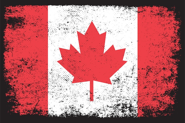 Drapeau Canada, Dans, Grunge Vecteur Premium