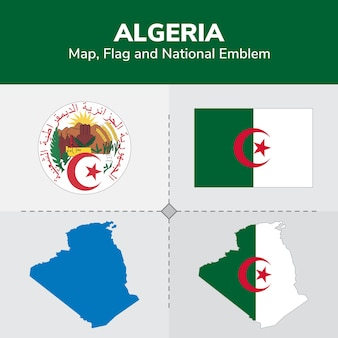 Drapeau de la carte de l'algérie et emblème national