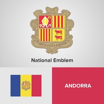 Drapeau de la carte d'andorre et emblème national