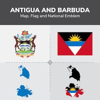 Drapeau de la carte antigua-et-barbuda et emblème national