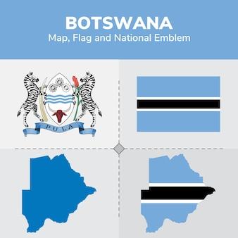 Drapeau de la carte du botswana et emblème national