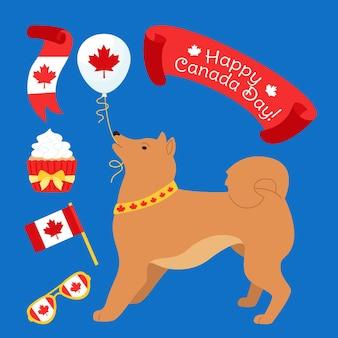Drapeau de chien de jour du canada et carte de dessin animé de gâteau, chien patriotique drôle avec des lunettes, ballon, ruban, gâteau