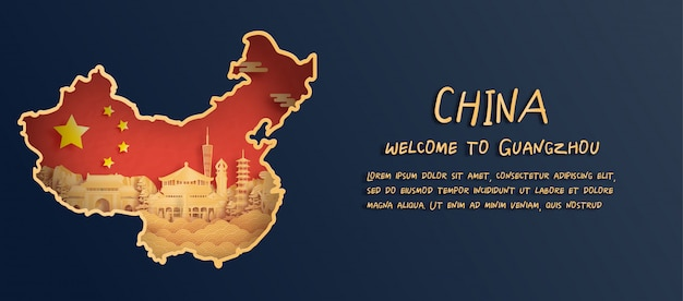 Drapeau de la chine et carte avec l'horizon de guangzhou, monuments célèbres dans le style de papier découpé