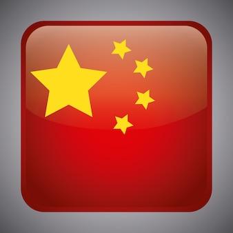 Drapeau de la chine en forme carrée