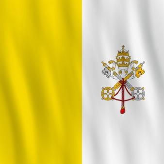 Drapeau de la cité du vatican avec effet ondulant, proportion officielle.