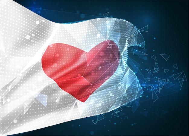 Drapeau avec un coeur pour la saint-valentin sur fond bleu avec des polygones triangulaires