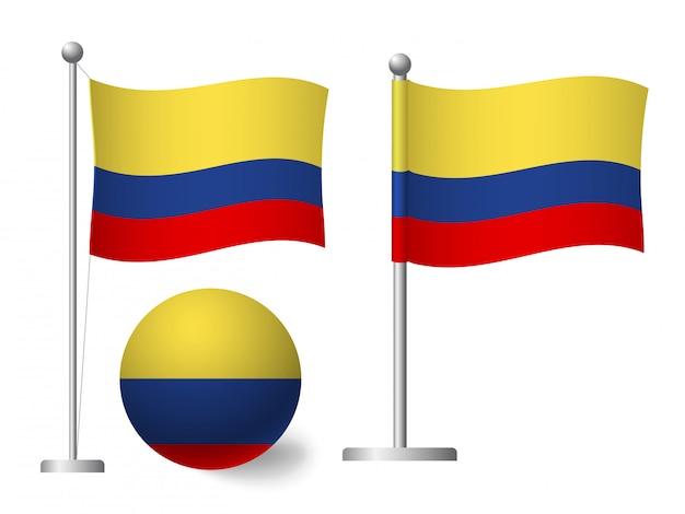 Drapeau de la colombie sur l'icône de poteau et boule