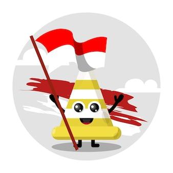 Drapeau de cône de signalisation logo de personnage mignon