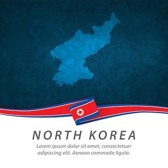 Drapeau de la corée du nord avec carte centrale