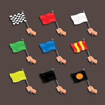 Drapeau de course avec collection de main