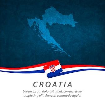 Drapeau de la croatie avec carte centrale