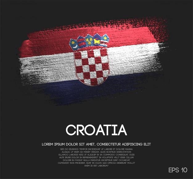 Drapeau de la croatie fait de peinture de pinceau d'étincelle de scintillement