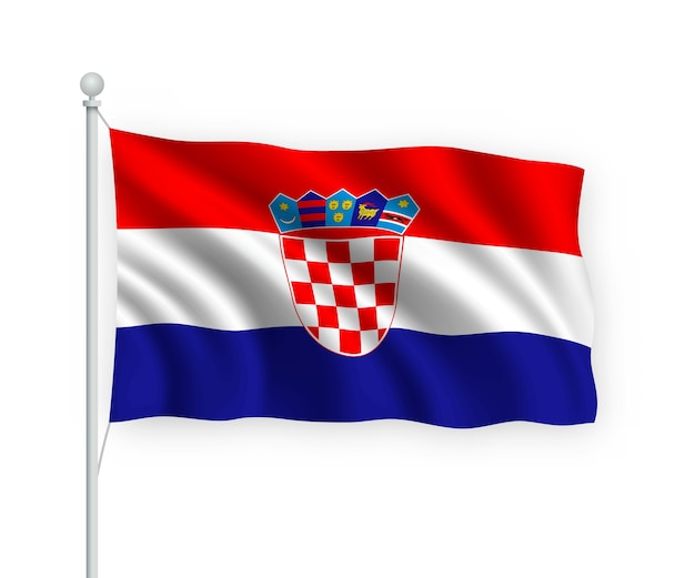 Drapeau croatie sur mât isolé sur blanc