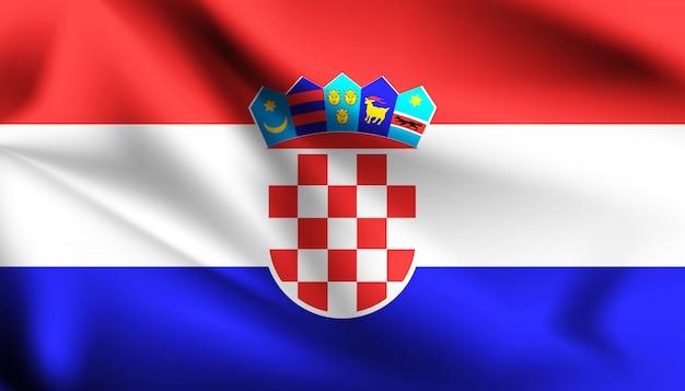 Drapeau de la croatie ondulant avec le vent,