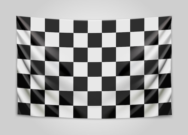 Drapeau à damier suspendu. drapeau de course ou de vainqueur.