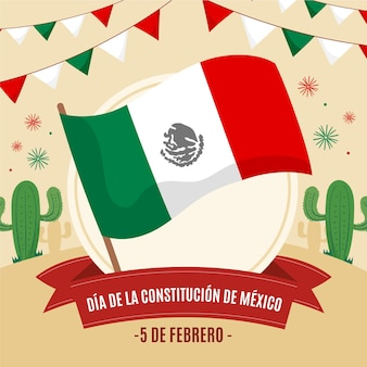 Drapeau dessiné à la main du jour de la constitution