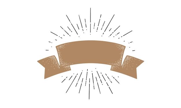 Drapeau. drapeau de ruban de la vieille école, modèle de bannière pour le texte. drapeau de ruban dans un style vintage avec rayons lumineux de dessin linéaire, sunburst et rayons de soleil