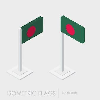 Drapeau du bangladesh 3d isométrique