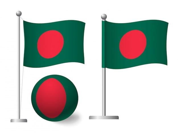Drapeau du bangladesh sur l'icône de poteau et boule