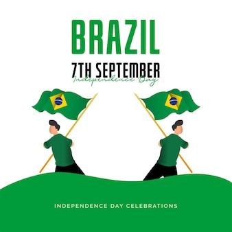 Drapeau du brésil célébrations du jour de l'indépendance modèle de bannière
