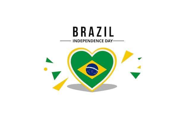 Drapeau du brésil avec des couleurs officielles en coeur