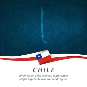 Drapeau du chili avec carte centrale