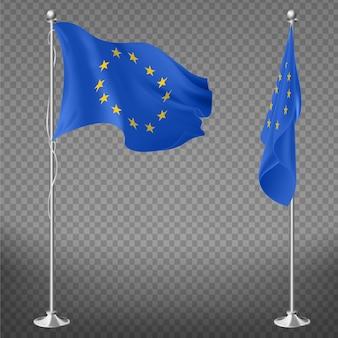 Drapeau du conseil de l'europe, de l'union européenne ou de la commission, couché, flottant sur les mâts de drapeau 3d vecteurs réalistes isolés sur transparent. organisation internationale, symbole officiel de l'institution