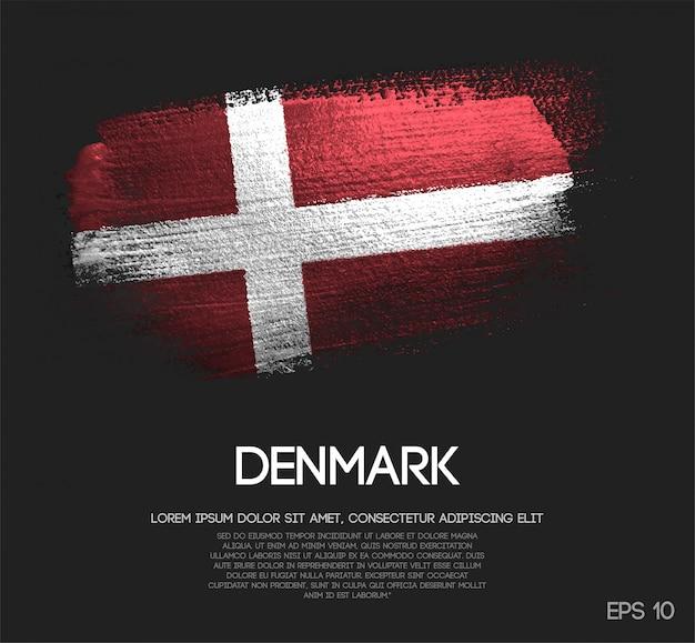 Drapeau du danemark fait de peinture de pinceau d'étincelle de scintillement
