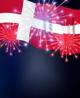 Drapeau du danemark avec feux d'artifice