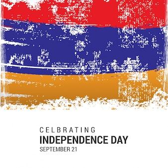 Drapeau du drapeau de l'arménie avec le jour de l'indépendance 21 septembre