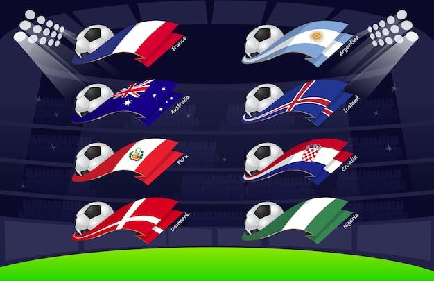 Drapeau du football mondial 2018 vol2