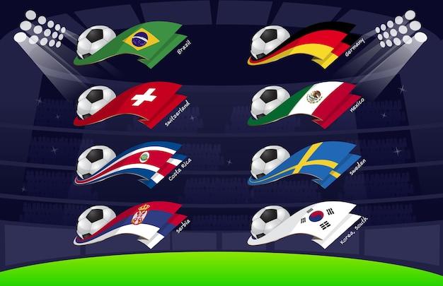 Drapeau du football mondial 2018 vol3