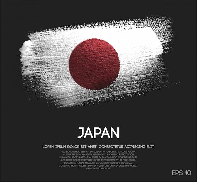 Le drapeau du japon fait de peinture de pinceau de scintillement de scintillement
