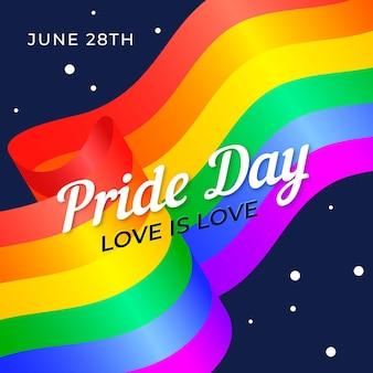 Drapeau du jour de la fierté avec la date et l'amour est un message d'amour