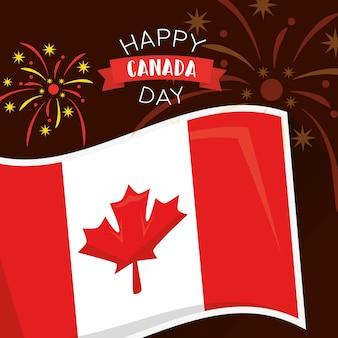 Drapeau du jour heureux canada national et feux d'artifice
