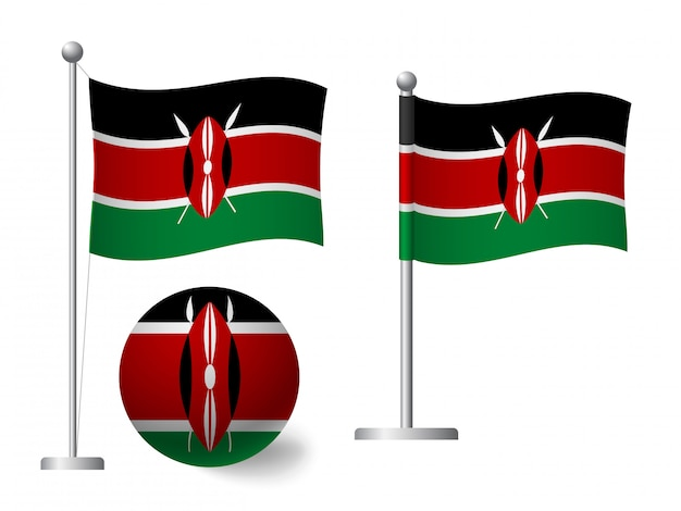 Drapeau du kenya sur l'icône de poteau et boule