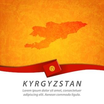 Drapeau du kirghizistan avec carte centrale
