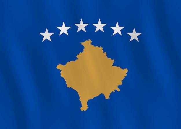 Drapeau du kosovo avec effet ondulant, proportion officielle.