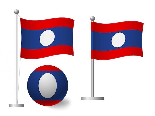 Drapeau du laos sur l'icône de poteau et boule