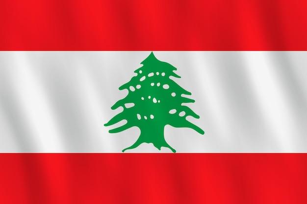 Drapeau du liban avec effet ondulant, proportion officielle.