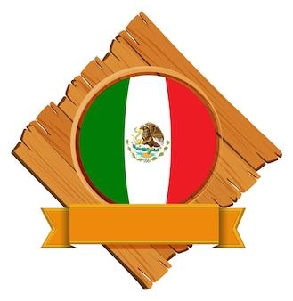 Drapeau du mexique sur planche de bois