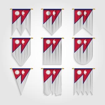 Drapeau du népal sous différentes formes, drapeau du népal sous différentes formes