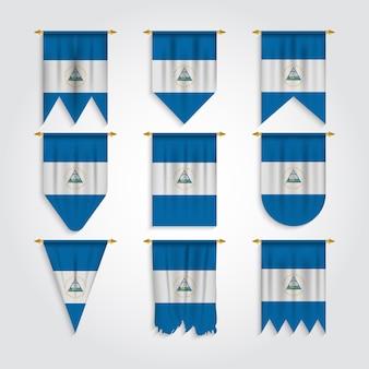 Drapeau du nicaragua en différentes formes