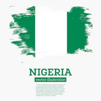 Drapeau du nigeria avec des coups de pinceau. illustration vectorielle.