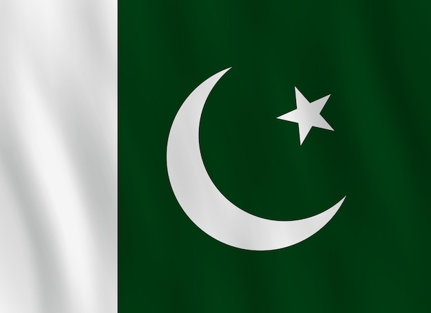 Drapeau du pakistan avec effet ondulant, proportion officielle.