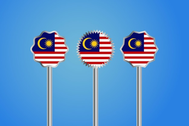 Drapeau du pays de la malaisie avec badge et poteau de frontière argent
