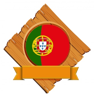 Drapeau du portugal sur planche de bois