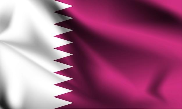 Drapeau du qatar dans le vent. partie d'une série. agitant le drapeau du qatar.