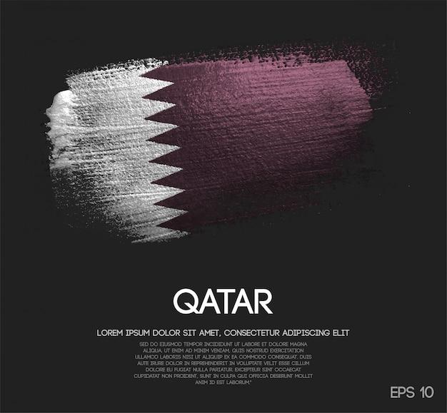 Drapeau du qatar fait de la peinture de pinceau d'étincelle de scintillement